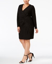 Calvin Klein Plus Size Sparkle Ruched Faux Wrap Dress Black