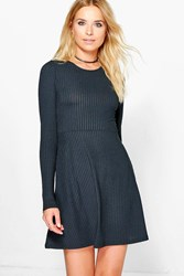 Boohoo Long Sleeved Ribbed Skater Dress Black