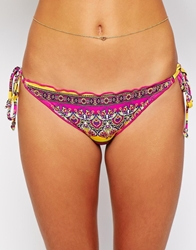Ginja By Baku Catalan Beach Ruffle Tie Side Bikini Bottom Saffron
