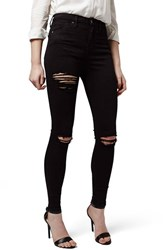 Women's Topshop Destroyed High Rise Ankle Skinny Jeans Black