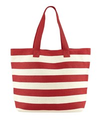 San Diego Hat Company Wide Striped Straw Tote Bag Red