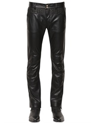 Roberto Cavalli 17Cm Faux Leather And Denim Jeans