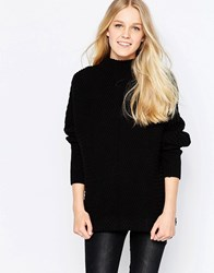 Vila Indie High Neck Textured Jumper In Black Indie High Neck