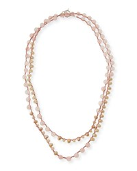Rose Quartz And Crystal Crocheted Necklace 55' An Old Soul
