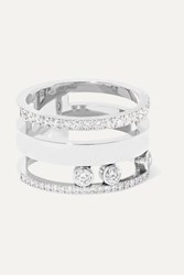 Messika Move Romane Large 18 Karat White Gold Diamond Ring