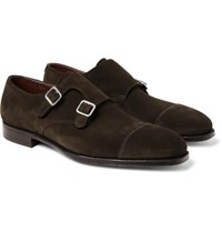 George Cleverley Thomas Cap Toe Suede Monk Strap Shoes Dark Brown