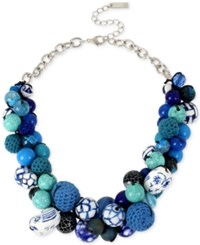 Inc International Concepts M. Haskell For Inc Silver Tone Blue Beaded Bauble Collar Necklace Only At Macy's