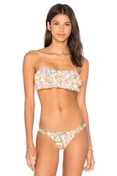 Pilyq Embroidered Ruffle Bandeau Bikini Top Tan