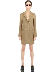 Lardini Wool Blend Tweed Coat Gold