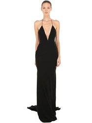 Alex Perry Satin Crepe Deep V Long Halter Dress Black