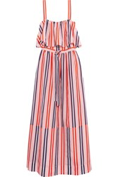 Diane Von Furstenberg Striped Cotton And Silk Blend Maxi Dress Pastel Pink
