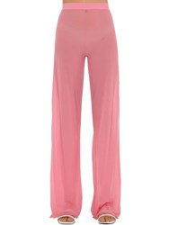 Courreges Gerbe Sheer Stretch Flared Pants Pink