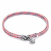 Anchor And Crew Red Dash Brighton Silver Rope Bracelet Red Silver