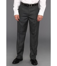 Perry Ellis Classic Fit Flat Front Sharkskin Pant Charcoal Men's Dress Pants Gray