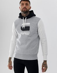 G Star Graphic Logo Hooded Sweat In Grey