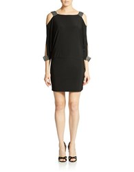 Betsy And Adam Embellished Cold Shoulder Blouson Dress Black
