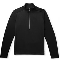 Folk Loopback Cotton And Tech Jersey Half Zip Sweatshirt Black