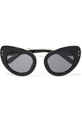 Erdem Linda Farrow Cat Eye Acetate Sunglasses Black