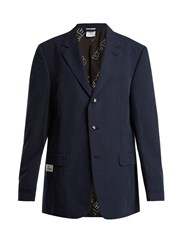Vetements Oversized Single Breasted Cotton Blazer Navy