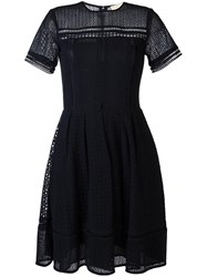 Michael Michael Kors Embroidered Flared Dress Blue