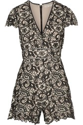 Alice Olivia Tinsley Guipure Lace Playsuit Black