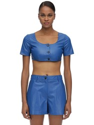 Maryam Nassir Zadeh Leather Crop Top Blue