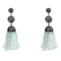 Latelita London Tassel Ball Earring Aquamarine Light Blue Cz Blue Silver