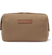 Want Les Essentiels Kenyatta Leather Trimmed Organic Cotton Canvas Wash Bag Tan