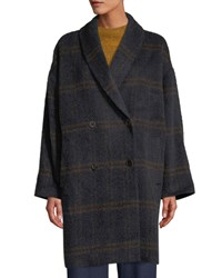 Eileen Fisher Windowpane Luxe Alpaca Wool Car Coat Midnight