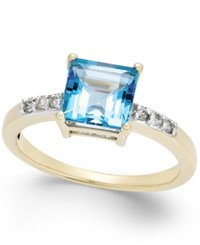 Macy's Blue Topaz 1 3 8 Ct. T.W. And Diamond Accent Ring In 14K Gold Yellow Gold