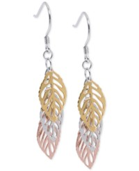 Giani Bernini Tri Tone Leaf Drop Earrings In 18K Gold Plate Rose Gold Plate And Sterling Silver Only At Macy's Tri Tone