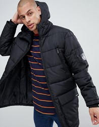 Nicce London Long Line Puffer Jacket In Black With Hood