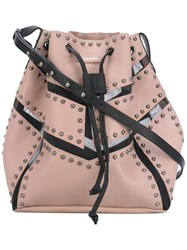 Diesel Stud Detail Shoulder Bag Women Leather One Size Nude Neutrals