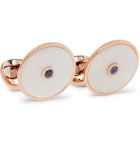 Deakin And Francis Dreamcatcher Rose Gold Plated Mother Of Pearl Sapphire Cufflinks Rose Gold