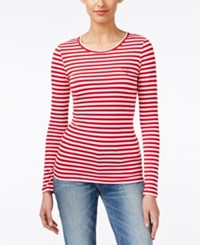 Guess Striped Long Sleeve T Shirt Red Hot Multi