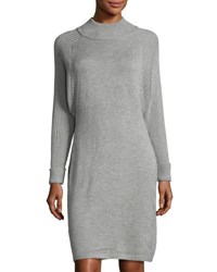 Tahari By Arthur S. Levine Turtleneck Sweater Dress Gray