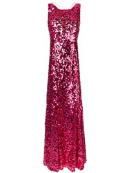 Dolce And Gabbana Long Sequinned Dress Pink Purple