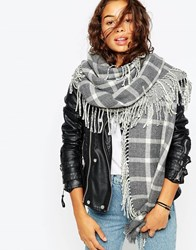 Asos Skinny Check Scarf With Side Fringe Grey