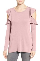 Pleione Petite Women's Ruffle Cold Shoulder Top Dusty Rose