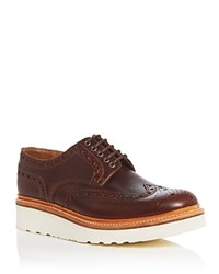 Grenson Archie V Platform Wingtip Oxfords Chestnut Brown