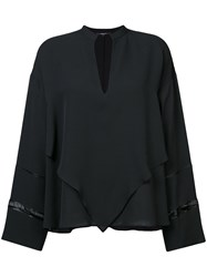 Derek Lam V Neck Blouse Women Silk 44 Black