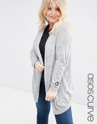 Asos Curve Swing Cardigan With Cuff Patches Grey