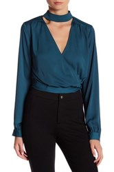 L'academie The Surplice Wrap Blouse Blue