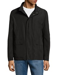 Cole Haan Solid Packable Rain Jacket Black