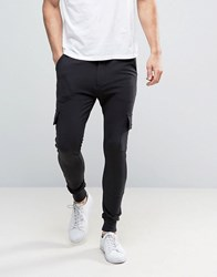 Only And Sons Skinny Fit Cargo Trouser In Sweat Black