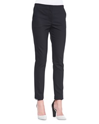 The Row Flat Front Skinny Pants Black