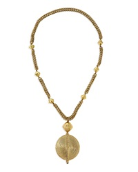 Brass Medallion Long Chain Necklace Nest Jewelry