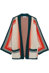 Equipment Anders Striped Knitted Cardigan Orange