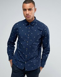 Esprit Slim Fit Long Sleeve Shirt In Oxford Cotton With All Over Print Navy 400
