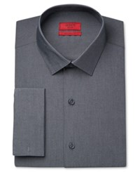 Alfani Men's Fitted Performance Micro Stripe French Cuff Dress Shirt Only At Macy's Dark Grey